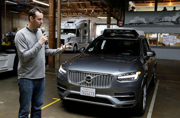 PHOTO: Anthony Levandowski speaks to the press about Uber's driverless car in San Francisco, Dec. 13, 2016. (Eric Risberg/AP, FILE)