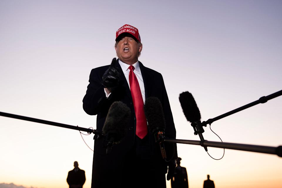 President Donald Trump speaks to the press at Charlotte Douglas International Airport on Nov. 1. Trump vowed to again defy the polls as he sprinted through five swing states in a blitz of campaigning against Joe Biden with just two days left before the US presidential election.