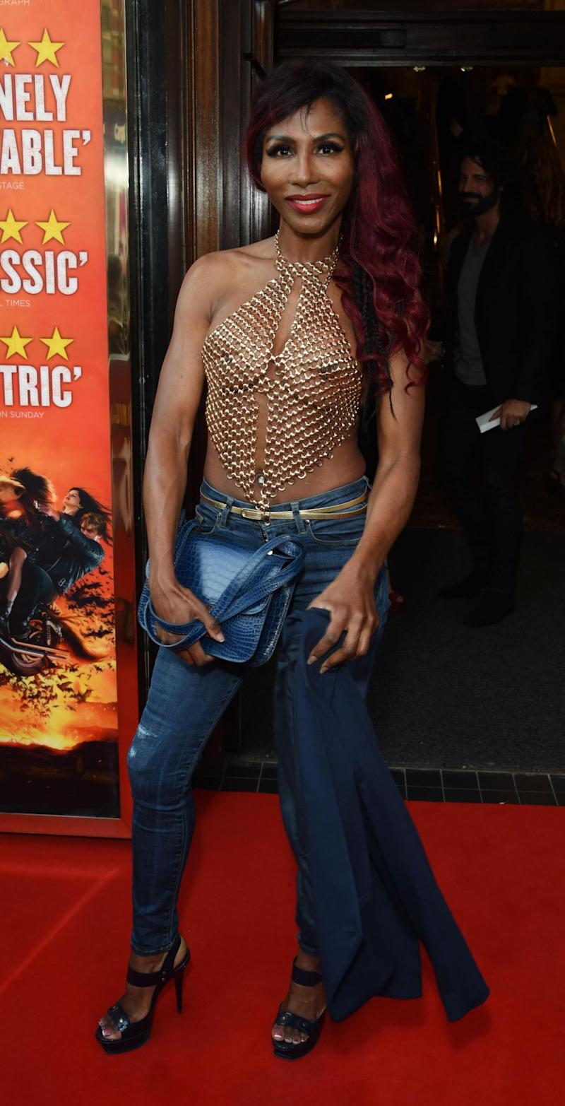 The 54-year-old 80s pop star stepped out at the Gala Night performance of Bat Out Of Hell The Musical, wearing a barely-there top which could easily have been mistaken for a chunky necklace. Source: Getty