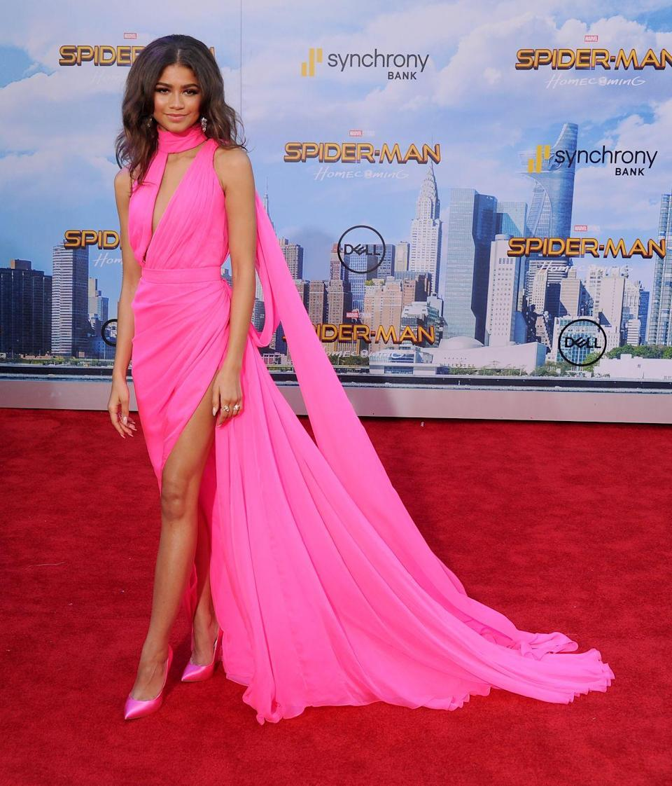 """<p>Zendaya<span class=""""redactor-invisible-space""""> wore Ralph & Russo to attend the 'Spider-Man: Homecoming' LA premiere.</span></p>"""