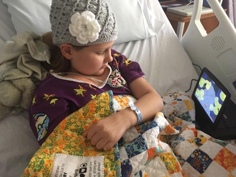 Laura Bray's daughter, Abby, receiving chemotherapy treatment. (Photo: Courtesy of Laura Bray)