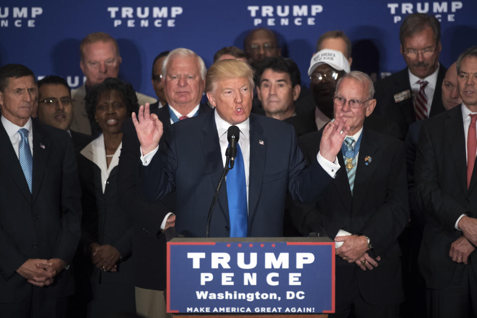 Then Republican presidential candidate Donald Trump states that he believes President Obama was born in the United States during a campaign event with veterans at the Trump International Hotel on Pennsylvania Ave., NW, September 16, 2016. (Photo: Tom Williams/CQ Roll Call via Getty Images)