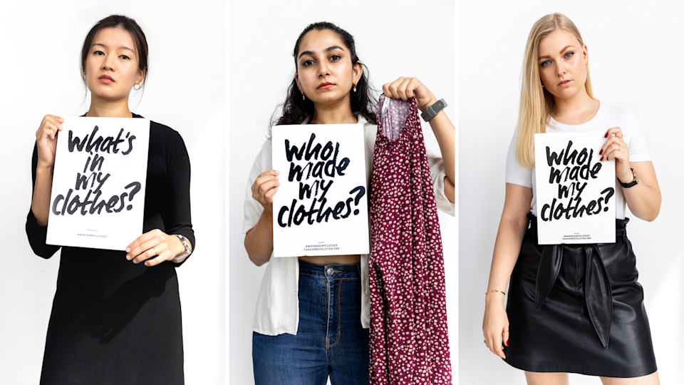 Members of Fashion Revolution's team ask #WhoMadeMyClothes and #WhatsInMyClothes, from left to right, Chu Wong, Nikita Vattas and Bitten Kirk. (PHOTO: Zerrin Studio)