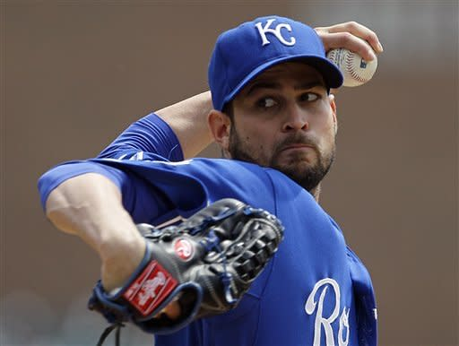 Kansas City Royals starting pitcher Jonathan Sanchez throws in the first inning of a baseball game against the Detroit Tigers in Detroit, Wednesday, May 2, 2012. (AP Photo/Paul Sancya)