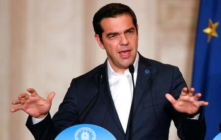 FILE PHOTO: Greek Prime Minister Alexis Tsipras speaks during a southern European Union nations meeting in Rome, Italy January 10, 2018.       REUTERS/Remo Casilli/File Photo