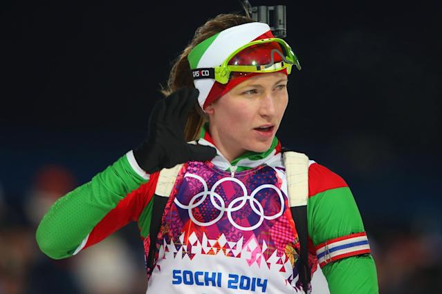 SOCHI, RUSSIA - FEBRUARY 17: Darya Domracheva of Belarus competes in the Women's 12.5 km Mass Start during day ten of the Sochi 2014 Winter Olympics at Laura Cross-country Ski & Biathlon Center on February 17, 2014 in Sochi, Russia. (Photo by Alexander Hassenstein/Getty Images)