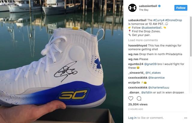 Under Armour plans to drop free pairs of autographed Curry 4s from the sky.