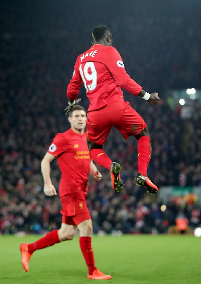 <p>Sadio Mane celebrates making it 2-0 to Liverpool</p>