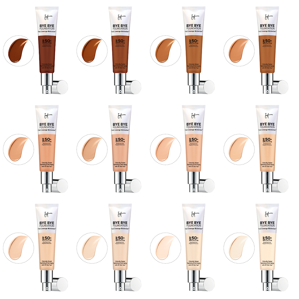 The shade range and swatches of It Cosmetics Bye Bye Foundation (Photos: Courtesy of It Cosmetics. Graphic: Yahoo Lifestyle)