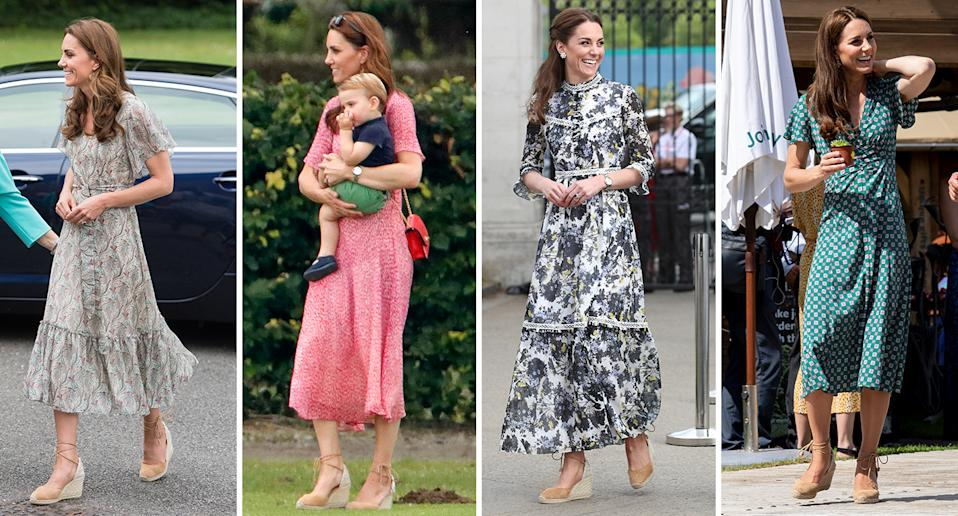 The Duchess of Cambridge has worn her Castaner shoes on multiple occasions [Photo: Getty]