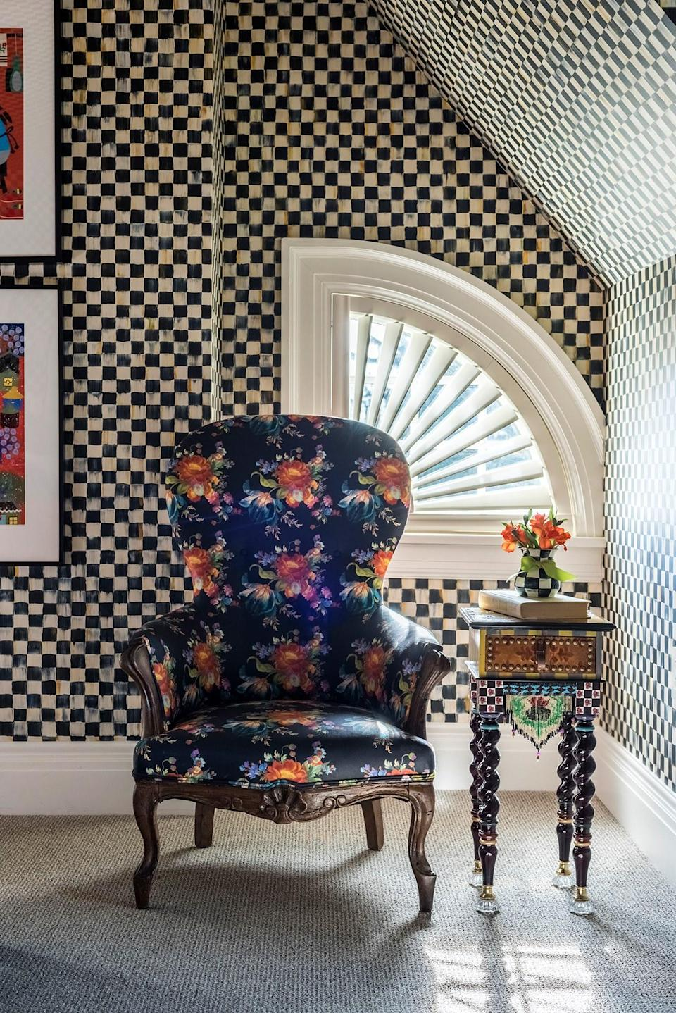 A guest room at Rowland House, decorated in Mackenzie Child's Cortley Check pattern.