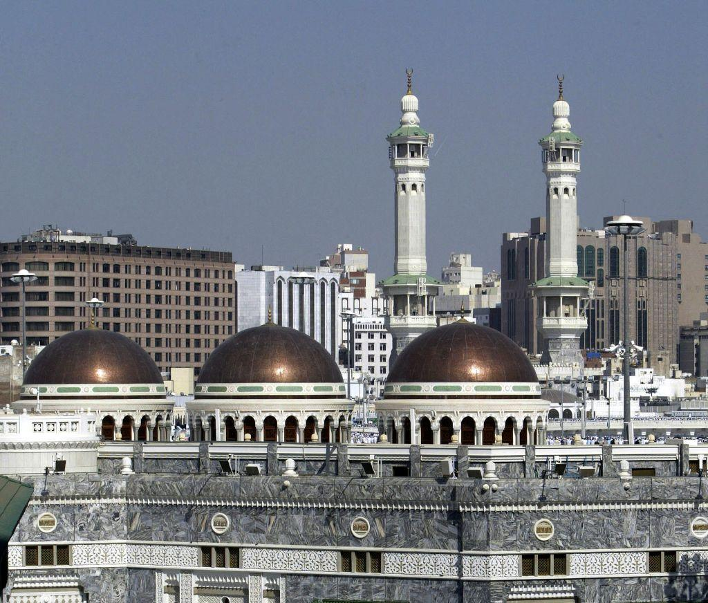 <p>MECCA, SAUDI ARABIA: A view of the minarets and domes of The Grand Mosque. </p>