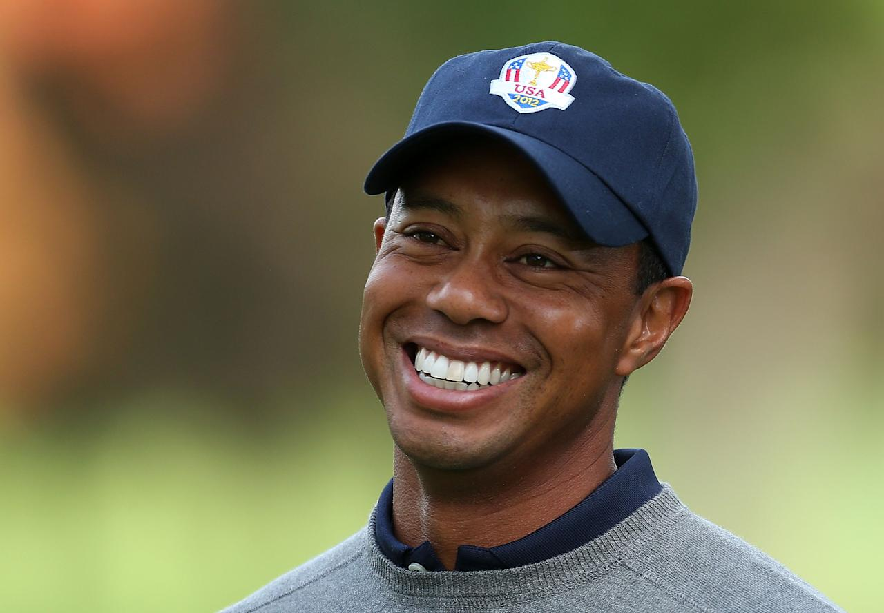MEDINAH, IL - SEPTEMBER 25:  Tiger Woods of the USA is seen at the official photocall during the second preview day of The 39th Ryder Cup at Medinah Country Golf Club on September 25, 2012 in Medinah, Illinois.  (Photo by Andy Lyons/Getty Images)