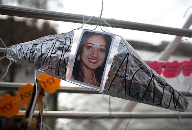 A hanger featuring a picture of Savita Halappanavar. (Photo: Andrew Cowie/Getty Images)