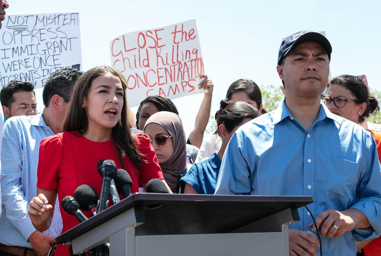 Rep. Alexandria Ocasio-Cortez, D-N.Y., at the Clint, Texas, Border Patrol facility housing children on July 1. (Photo: Christ Chavez/Getty Images)