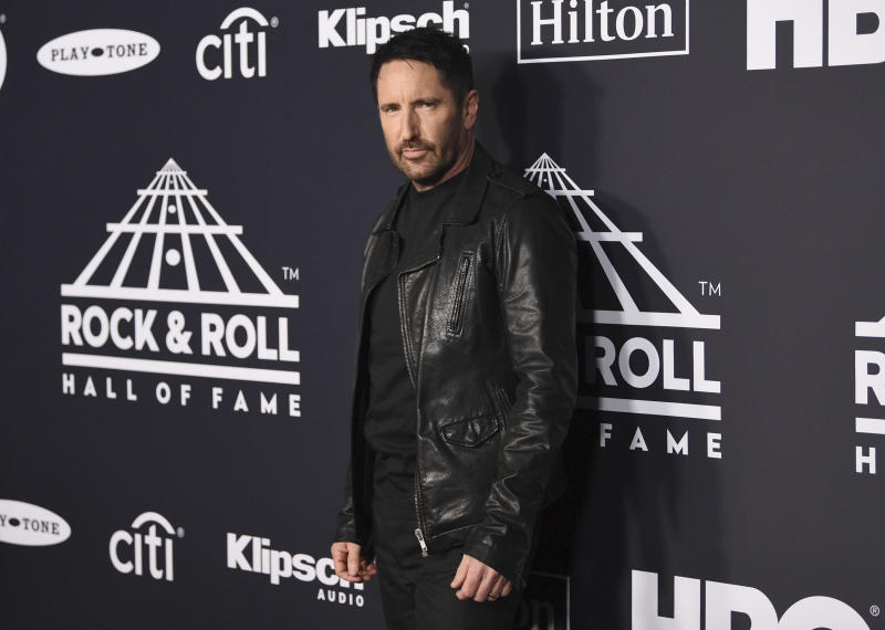 Trent Reznor arrives at the Rock & Roll Hall of Fame induction ceremony at the Barclays Center on Friday, March 29, 2019, in New York. (Photo by Evan Agostini/Invision/AP)