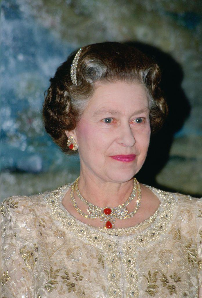 <p>Perhaps catching on to the Queen's love of rubies, the Emir of Qatar sent her this diamond and cabochon ruby necklace in the 1980s.</p>