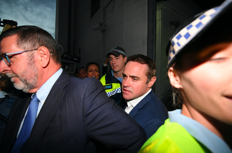 Ben McCormack pictured leaving Sydney's Redfern Police Station on Tuesday night. Photo: AAP