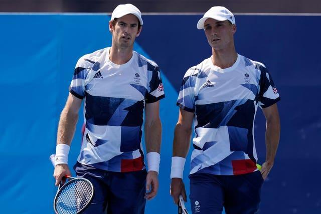 Andy Murray (left) and Joe Salisbury were unable to continue their run in Tokyo