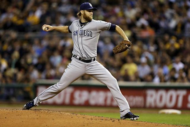 San Diego Padres starting pitcher Andrew Cashner delivers during the second inning of a baseball game against the Pittsburgh Pirates in Pittsburgh Monday, Sept. 16, 2013. (AP Photo/Gene J. Puskar)