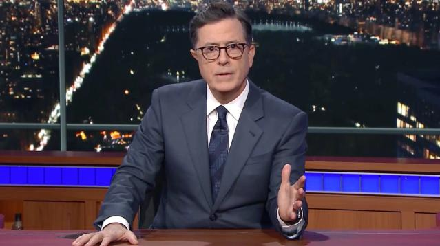 Stephen Colbert dispensed with the jokes and attacks and challenged President Donald Trump on Monday night to do something his recent predecessors were unable to accomplish and pass common-sense gun control laws.