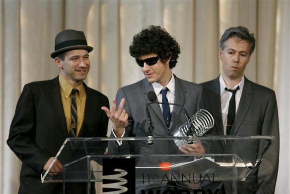 The Beastie Boys address the crowd as they accept an award for Artist of the Year during the Webby Awards in New York, June 5, 2007.