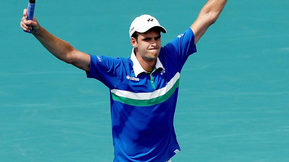 Hubert Hurkacz, pictured here celebrating his win over Stefanos Tsitsipas at the Miami Open.