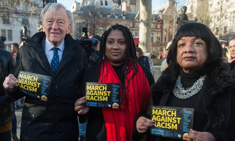 Bell Ribeiro-Addy (C), Diane Abbott and Lord Alf Dubs