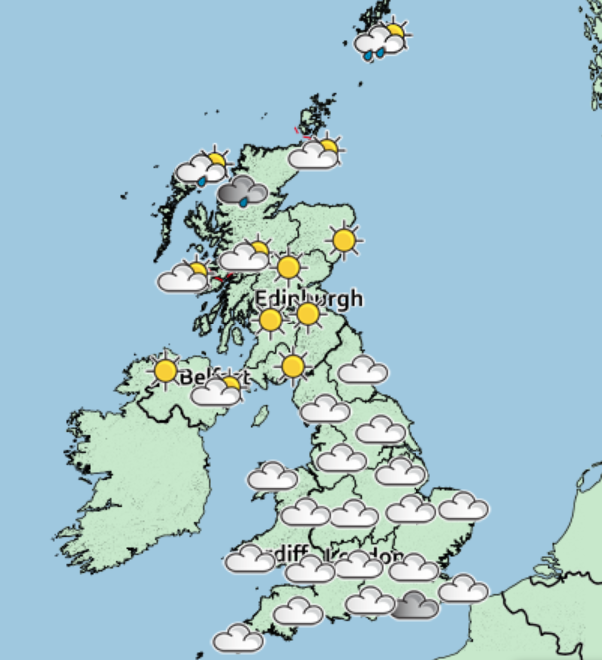 Saturday will see blustery weather move southwards leaving behind sunny spells in the north and Scotland.