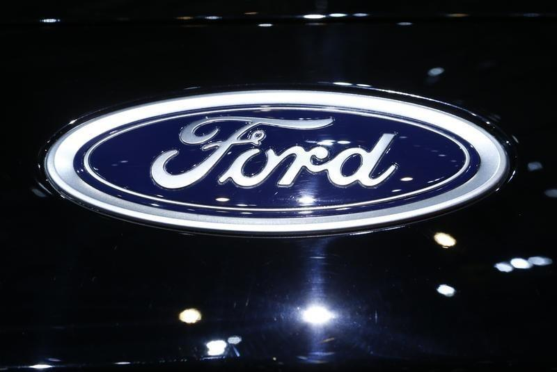 A logo of Ford is pictured on a car at the 86th International Motor Show in Geneva