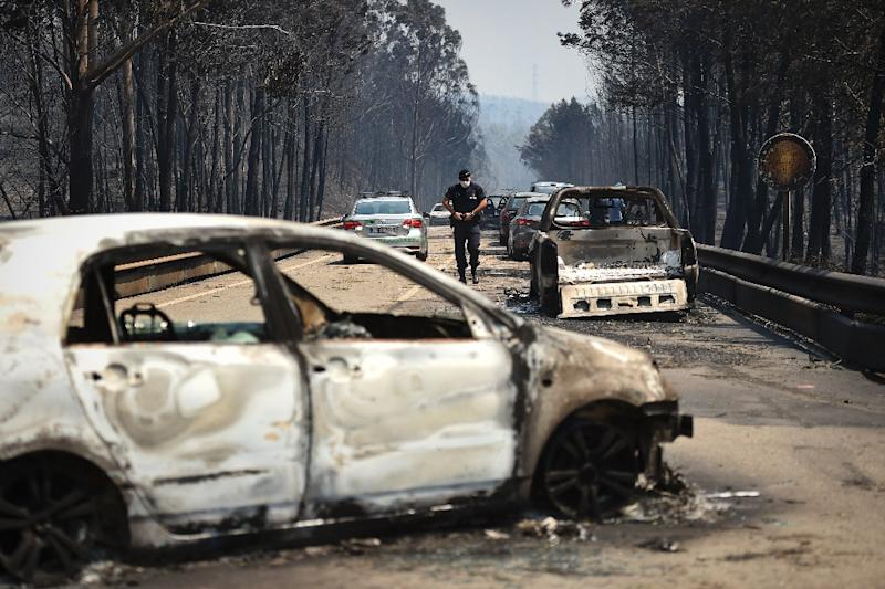 More than 50 people have died and dozens more have been injured in the Portugal wildfires, some while trying to drive to safety (AFP Photo/PATRICIA DE MELO MOREIRA)