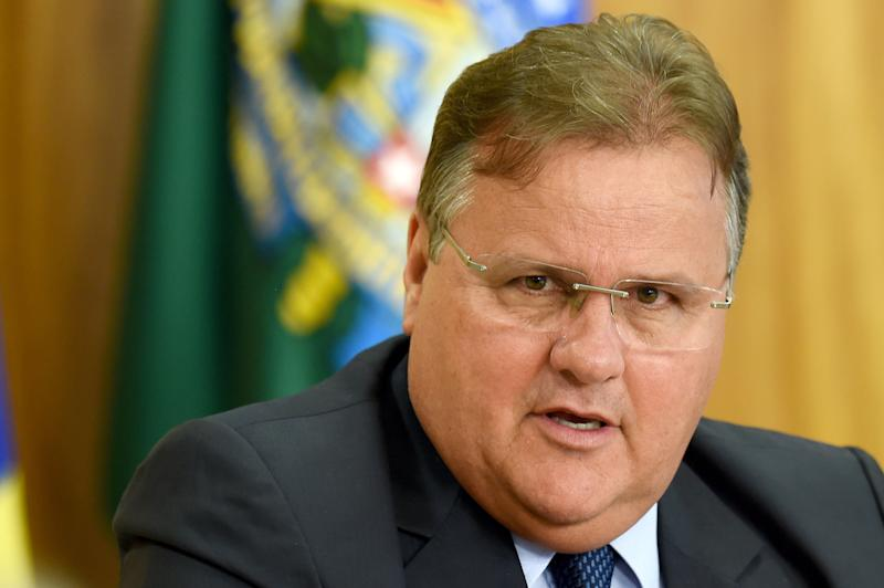 Minister of Government Secretariat Geddel Vieira Lima speaks at a press conference to explain the government's economic measures aimed at curbing public spending and reviving growth, in the Planalto Palace, the seat of government, in Brasilia on May 24, 2016. / AFP / EVARISTO SA (Photo credit should read EVARISTO SA/AFP via Getty Images)