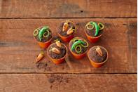 <p>Shape chewy candy into pea pods and carrots and let kids plant 'em in chocolate-cookie-crumb-topped cupcakes (use store-bought to avoid the oven!).</p>