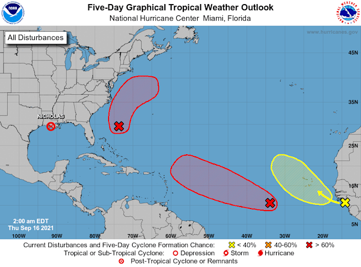 Tropical outlook for the Atlantic Basin as of 2 a.m. Thursday, Sept. 16, 2021.