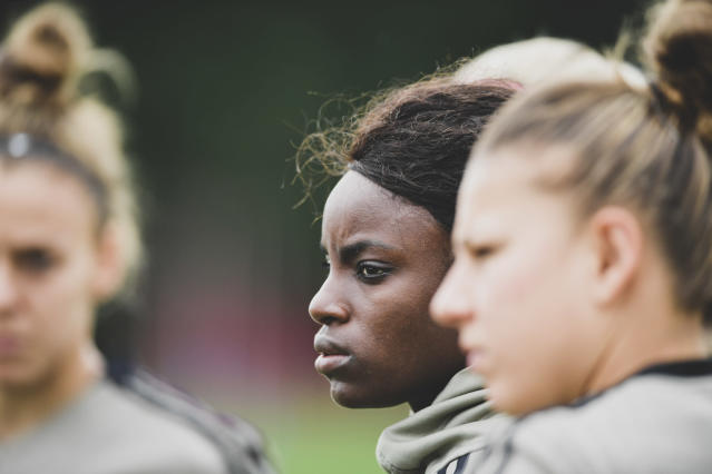 Eniola Aluko is one of 11 women with more than 100 caps in England history. (Photo by Daniele Badolato - Juventus FC/Juventus FC via Getty Images)