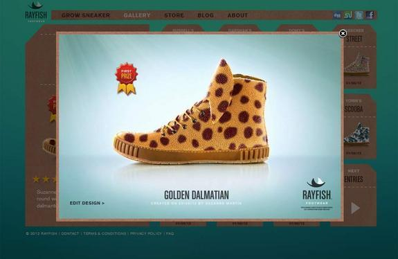 Rayfish Footwear's website shows user-submitted shoe designs to be applied to genetically-engineered stingrays.