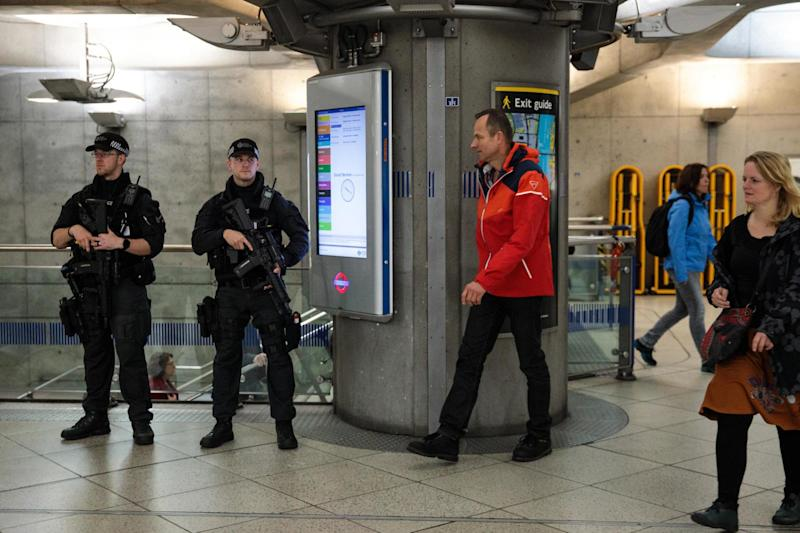 Armed police patrol in Westminster Underground station following the attack last week: Getty Images
