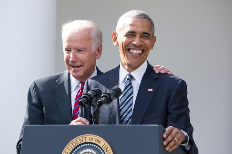 President Obama and Vice President Joe Biden smile at an event in the Rose Garden the day after Trump's election, Nov. 9, 2016. (Photo: Cheriss May/NurPhoto via Getty Images)