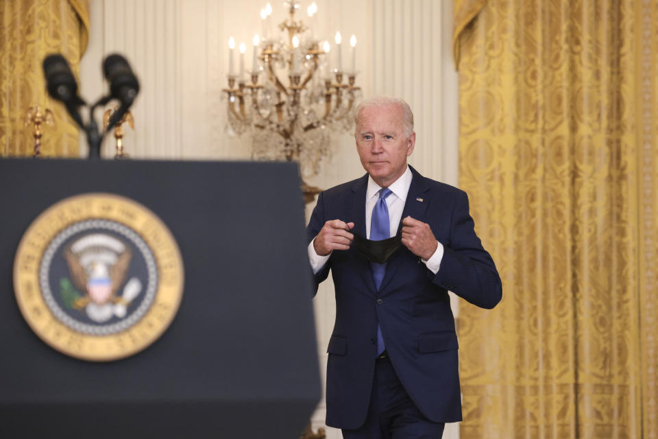 WASHINGTON, DC - SEPTEMBER 16: U.S President Joe Biden arrives to speak during an event in the East Room of the White House September 16, 2021 in Washington, DC. Biden spoke about the U.S. economy during the event.  (Photo by Win McNamee/Getty Images)