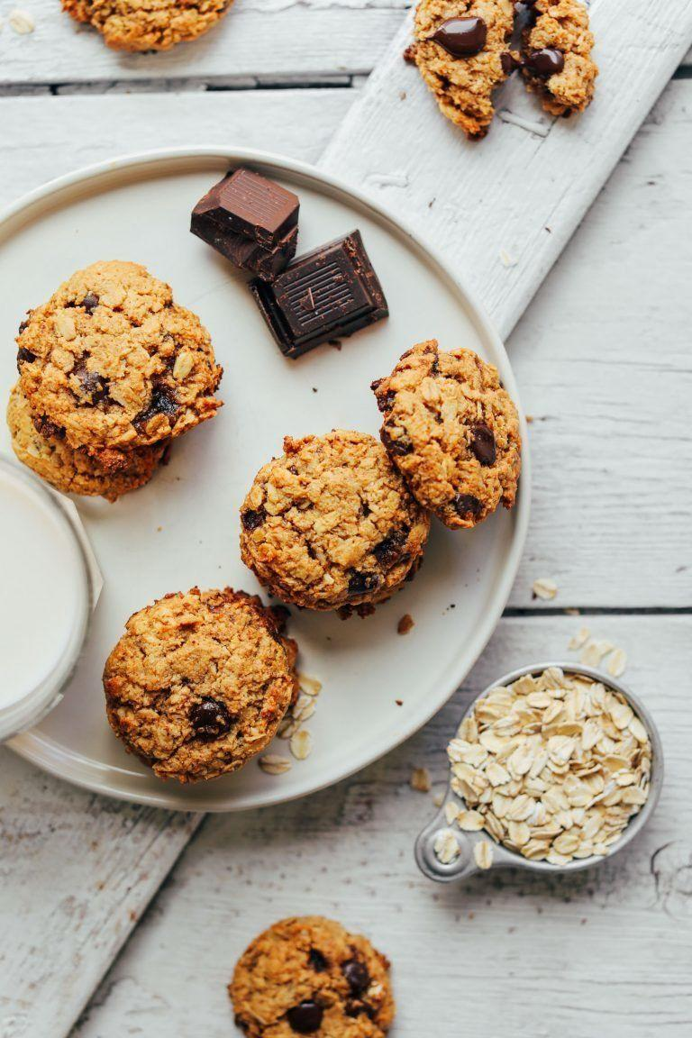"""<strong>Get the <a href=""""https://minimalistbaker.com/gluten-free-oatmeal-chocolate-chip-cookies/"""" target=""""_blank"""">Healthy Oatmeal Chocolate Chip Cookies recipe</a>fromMinimalist Baker</strong>"""