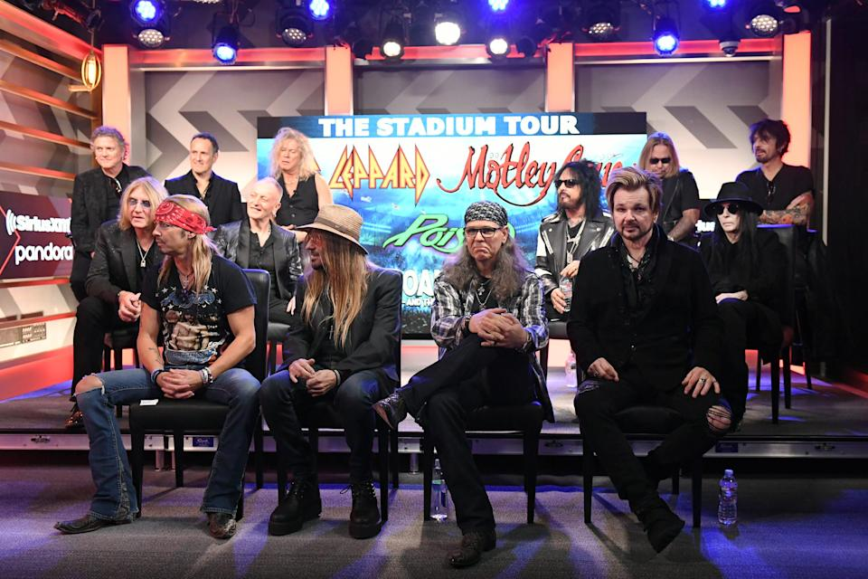 Members of Def Leppard, Motley Crue and Poison gather on Dec. 4, 2019, in Hollywood to announce their joint stadium tour.