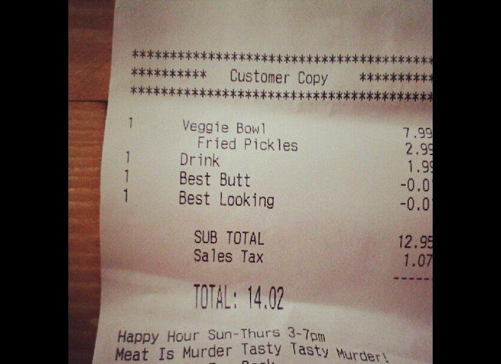"""One woman was surprised to find that along with her veggie bowl, she received a <a href=""""http://www.huffingtonpost.com/2012/08/21/best-butt-discount-customer-receipt_n_1819442.html"""" target=""""_hplink"""">discount for having the 'best butt'</a> and being the 'best looking' person in the fast food joint."""