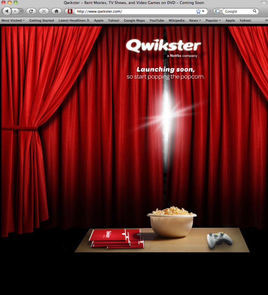 This screen shot shows Qwikster.com, a new website service available soon from Netflix. Netflix Inc. plans to separate its DVD-by-mail service and streaming video businesses. CEO Reed Hastings said on Sunday in a blog posting that the DVD service will be called Qwikster while the streaming business will be housed under the Netflix name. (AP Photo/Netflix Inc.)