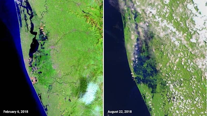 Pictures from NASA of Kerala state battled worst floods in a century