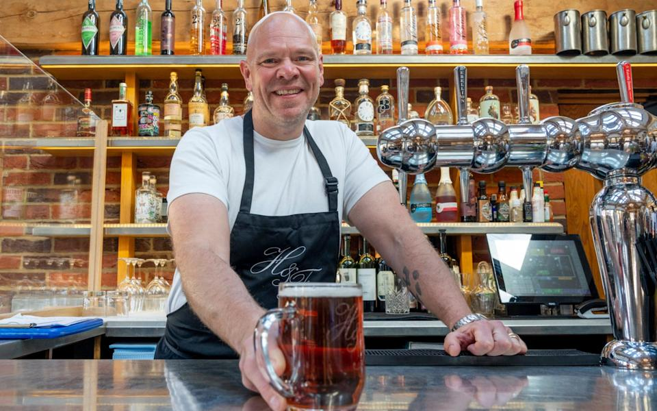 Tom Kerridge at the bar of his pub the Hand and Flowers in Marlow - Andrew Crowley