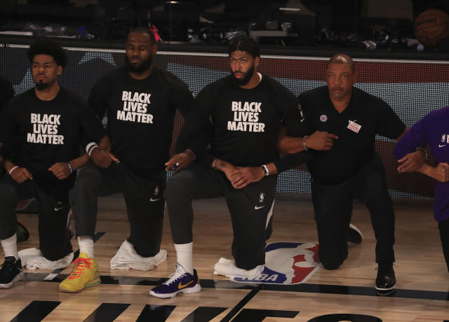 LeBron James said he hopes the NBA and its players made Colin Kaepernick proud on Thursday night. (Mike Ehrmann/Getty Imagesvia AP, Pool)