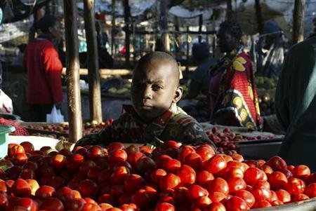 A boy sells tomatoes at an open-air market in Nairobi