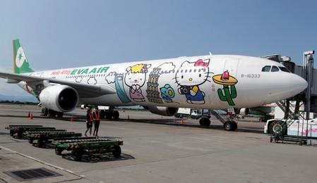 FILE PHOTO: An Airbus A330-300 aircraft of Taiwan's Eva Airlines is seen with Hello Kitty motifs in Taoyuan International Airport, northern Taiwan