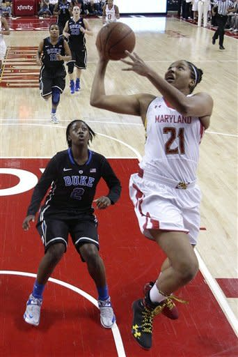 Maryland forward Tianna Hawkins (21) shoots past Duke guard Alexis Jones in the first half of an NCAA college basketball game in College Park, Md., Sunday, Feb. 24, 2013. (AP Photo/Patrick Semansky)