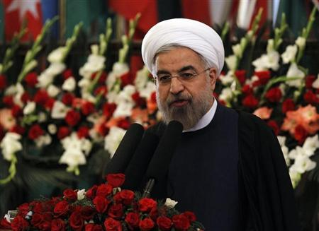 Iran's President Hassan Rouhani speaks during an event to mark Nawroz, the Persian New Year, in Kabul